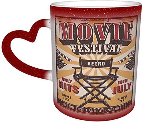 Cartel del festival de películas Taza mágica que cambia de color sensible al calor en el cielo Tazas de café artísticas divertidas Regalos personalizados para amantes de la familia Amigos-Ro