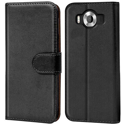 Verco Lumia 950 Hülle, Handyhülle für Microsoft Lumia 950 Tasche PU Leder Flip Hülle Brieftasche - Schwarz