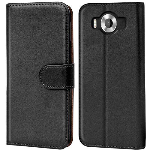 Verco Funda para Microsoft Lumia 950, Telefono Movil Case Compatible con Lumia 950 Libro Protectora Carcasa, Negro