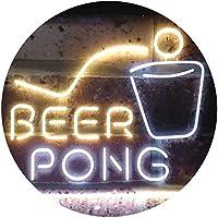 Beer Pong Bar Game Pub Dual Color LED看板 ネオンプレート サイン 標識 白色 + 黄色 300 x 210mm st6s32-i3495-wy