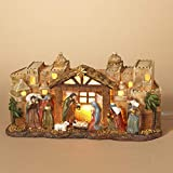 12-Inch Rustic Lighted Christmas Nativity Scene Figurine – Light-Up Tabletop Religious C...