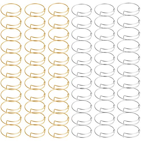 Minelife 70 Pcs Expandable Bangle Bracelet, Adjustable Wire Blank Bracelets for Women Jewelry DIY Making(Gold & Silver)