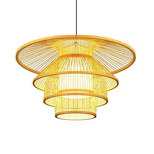 ZGZRXGY Forma de linterna de tejido a mano Arte de bambú Archanda de bambú para el restaurante japonés Iluminación Equipo de iluminación Sudeste Asia Estilo Habitación de la cama Lámpara de noche mode