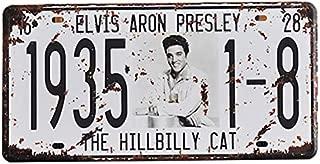 PotteLove Elvis Aron Presley Car License Plate Frame Car Number Vintage Metal Signs Tin Plaque Wall Poster for Garage Man Cave Cafe Bar Pub Club Caffee Beer Patio Home Decoration