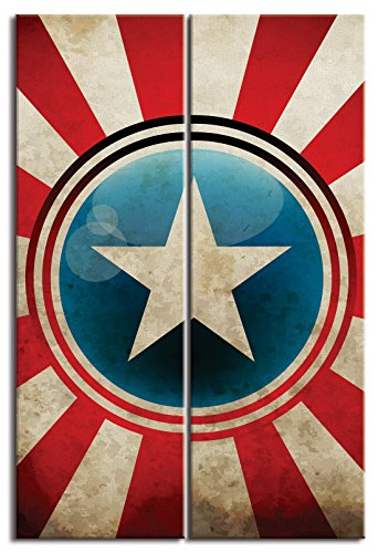 JP London Ready to Hang and Proudly Made in North DMCNV2423 2in Thick 2 Piece Each 12in by 36in Gallery Heavyweight Canvas Wall Art Captain America Shield Superhero Avengers at Overall 2 3 ft