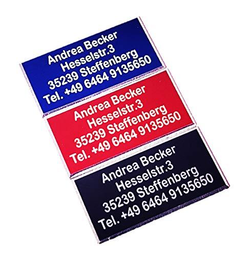 Andrea Becker Onlinehandel 30x15 mit Facette - eID, UAV-ID, Drohnen-Plakette, Kennzeichnung, Schild, Namensschild, Adressschild (Blau)