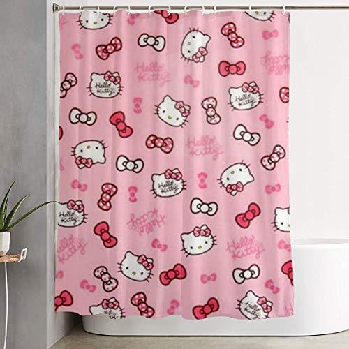 DNBCJJ Duschvorhang, Hello Kitty, Kunstdruck, Polyester-Stoff, Badezimmer-Dekorationen, Kollektion mit Haken, 152,4 x 183,9 cm