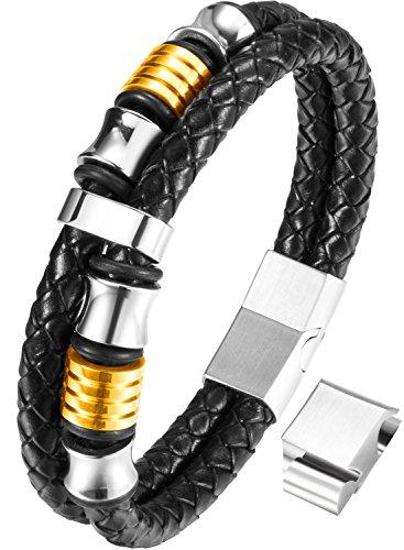 Ostan Uomo Gioielli Gotico Pelle Corda Intrecciato 316L Acciaio Inossidabile Bracciale Braccialetto Bangle,Oro, 21.5-22.8cm (Oro -21.5cm)
