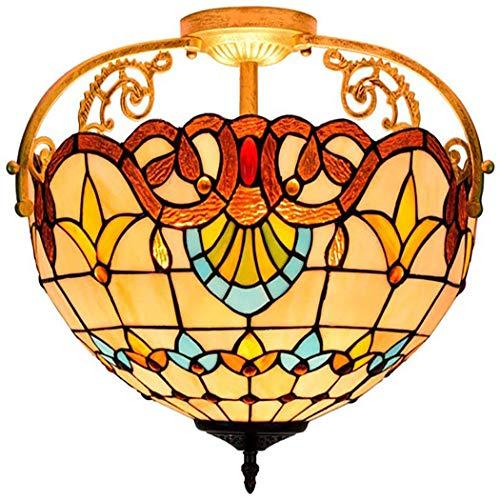 Tiffany Style lampadari antichi barocchi invertito soffitto a sospensione pastorali lampadario apparecchi di illuminazione da 16 pollici d'epoca per soggiorno sala da letto (3-Light)