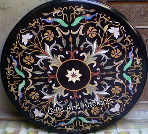Mesa de comedor de mármol negro con incrustaciones de piedra de 60 x 60 pulgadas, mesa de comedor con Pietra Dura Art