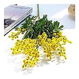 Heinside No se desvanezca Afelpada Acacia Grano de Flores Artificiales Falso de Plantas Centro Comercial Boda fotografía apoya Decoración Flores Encantador (Color : Yellow)