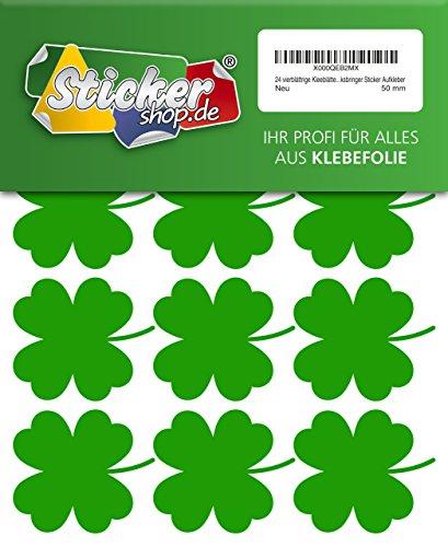 24 vierblättrige Kleeblätter, 50 mm, aus PVC Folie, selbstklebend, wetterfest, Glücksbringer Sticker Aufkleber