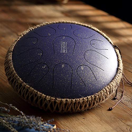 LOKE Drum Stahlzunge 11 Hinweise 12 Zoll Harmonic Pan Handtrommel, Schlaginstrument, Tank-Drum Chakra Drum für Meditation, Yoga und Zen mit Reisetasche und Mallets,H