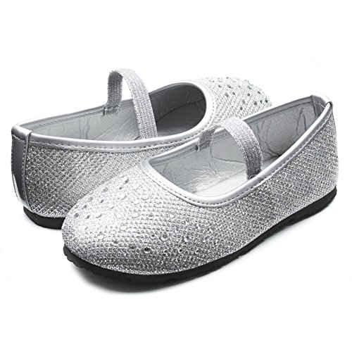 Sara Z Kids Toddlers Girls Glitter Mesh Ballet Flat Slip On Shoes With Rhinestones and Elastic Strap Silver Size 11/12