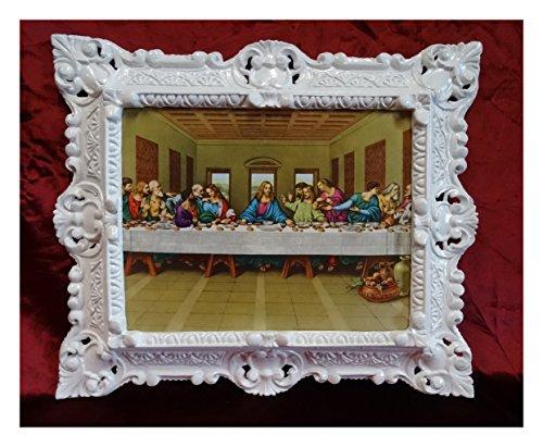 Fabricado en Italy Barroco Gemälde Cuadro con Marco Envejecido. Repro Jesús Cristo con los Doce aposteln 12Apóstoles de Jesús Ultima Cena de la Última Cena 45x 38cm en Color Blanco