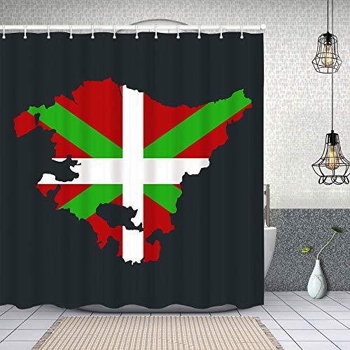 huagu Duschvorhang,Baskenland Landkarte Flagge,Waschbar Shower Curtains Wasserdicht & mit 12 Ringe Bad Vorhang 150x180cm