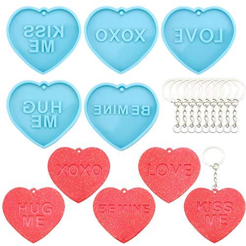 Moldes de silicona para llaveros,5 piezas de moldes de resina para llaveros, juego de moldes de silicona en forma de corazón con llaveros de metal con cadena, molde de resina epoxi para dulces DIY