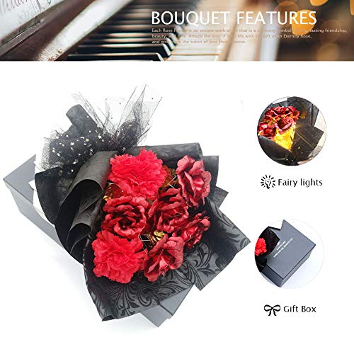 Erosmono Mother's Day Rose Bouquet -A Romantic Gift Bouquet Made of Carnations and Gold Leaf Roses, Suitable for Permanent Gifts for Birthdays, Valentine's Day and Wedding Box Pack (red) Silk Flower Arrangements