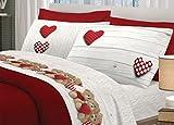 BIANCHERIAWEB Completo Lenzuola in 100% Cotone Disegno New Orsetti Matrimoniale Rosso