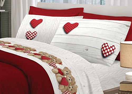 Set Completo Lenzuola in 100% Cotone Disegno Orsetti Matrimoniale Rosso