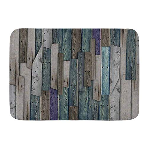 Minalo Dekorativer Badezimmer Boden Teppich,Rustikales Bild von blau grau Grunge Holzplanken Scheune Haus Türnägel Landleben Thema Druck,Badematte rutschfest,75 x 45 cm
