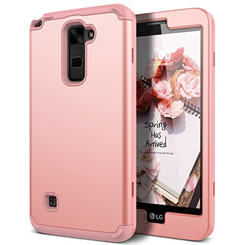 WeLoveCase LG Stylus 2 Case, Heavy Duty Drop Protection Case Shockproof Silicone Bumper + High Impact Hard PC 3 in 1 Hybrid Protective Case Cover for LG Stylus 2 / LG G Stylo 2 (LS775) - Rose Gold