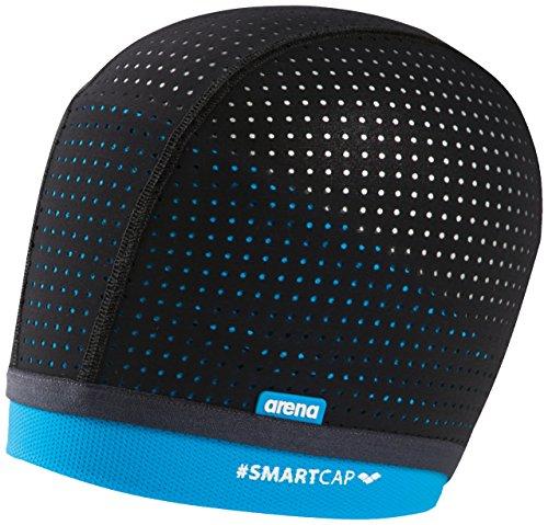 arena Unisex Badekappe Smartcap (Atmungsaktiv, Für Wassergymnastik, Haarband, Perfekt für lange Haare), Black-Turquoise (100), M/40