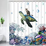 Funny Turtle Cat Blue Shower Curtain , Hilarious Ocean Animal Shower Curtan Set, Cat Riding Turtle on Great Wave Coral Shower Curtain for Bathroom, Blue Fabric Bathroom Curtain with Hooks, 69x70inches