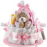 Timfanie® Windeltorte | Spieluhr Bär | 1-stöckig | zart-rosa | Windeln Gr. 2 (Baby 4-8 Kg)