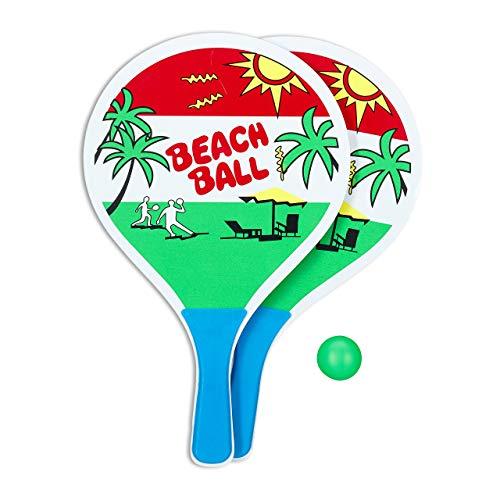 Relaxdays Set Beach Tennis, 2 Racchette in Legno, Pallina di Gomma, Gioco da Spiaggia, per Bambini e Adulti, Colorato Gioventù Unisex, Multicolore, 38.00 x 23.50 x 2.00 cm