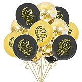 Globos de látex Eid Mubarak, 15 unidades, 16 pulgadas Eid Mubarak patrón de letras globos de papel de aluminio Ramadán Mubarak suministros para fiestas Ramadán (estilo A)