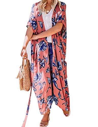 Las Mujeres Mangas de Cultivo Sheer Suelta Gasa Suelta Kimono Cardigan Blusa Top Naranja-Largo S