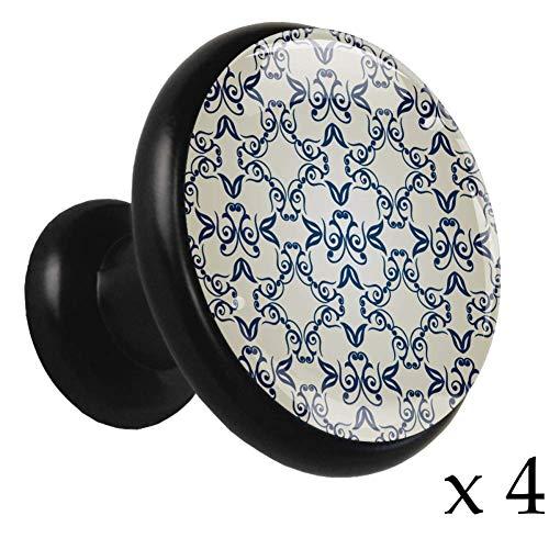 Make-Up Lippenstift Penseel 4 Stuks Vintage Gemengde Metalen Trekknoppen Mode Metallic Knoppen met Zwarte Metalen Basis voor Kasten, Kasten, Meubeldeuren, Laden in Keuken Slaapkamers 32mm Knop 32mm 11