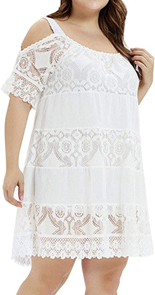 KYLEON Max 53% OFF Women's Dress Plus Size Short Sleeve cheap O O-Neck Hollow Lace