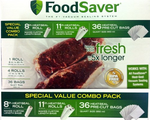 FoodSaver B005SIQKR6 Special Value Vacuum Seal Combo Pack 1-8 4-11 Rolls 36 Pre-Cut Bags, 1Pack), Clear