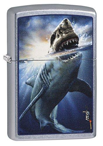 Zippo Unisex\'s Mazzi Vicious Shark Sturmfeuerzeug, Street Chrome, Einheitsgröße
