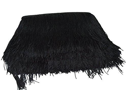 Borlas de poliéster de 25 colores, 15 cm de largo, con borde de encaje de 15 cm de largo, con flecos para bricolaje, vestidos latinos, accesorios de ropa. negro