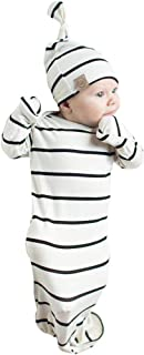 COLOOM Infant Baby Gown Newborn Knotted Sleeper Striped Sleep Sacks Gowns Swaddle & Cap, 0-6Months