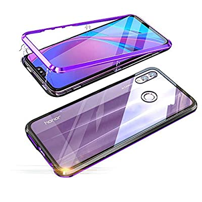 Fantasydao Compatible with Huawei Honor 8X [Magnetic Adsorption Case] Metal Frame [Clear Tempered Glass Back] 360° Bumper Slim Fit [Ultra-Thin] Lightweight Cover for Huawei Honor 8X(Purple)