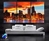 BoxColors - Large 30'x 60' 3 Panels 30'x20' Ea Art Canvas Print Beautiful Chicago Skyline Sunset Light Wall Home (Included Framed 1.5' Depth)