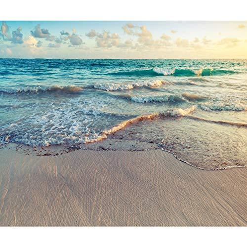 decomonkey Fototapete Strand Meer 350x256 cm XL Tapete Wandbild Bild Fototapeten Tapeten Wandtapete Natur Sommer