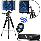 Acuvar 57' inch Pro Series Tripod, Acuvar Tablet Mount, Wireless Shutter Remote for iPad, iPad Air, iPad Mini, Most Other Tablets