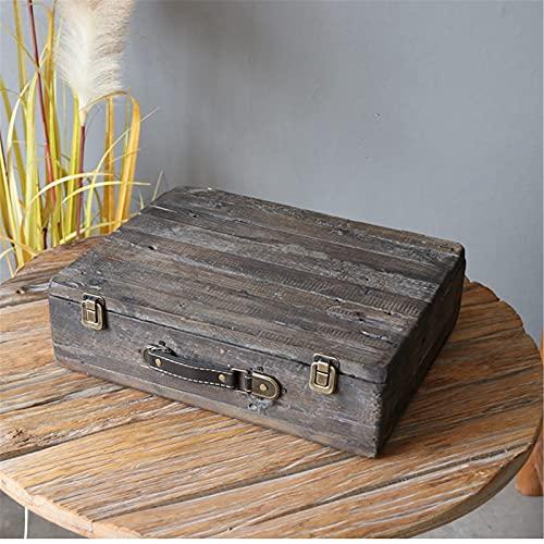 Tyueliang Tinket Box Maleta De Vintage Retro De Madera Decorativa   Cajas De Almacenamiento Contenedores Antiquepara Treasure