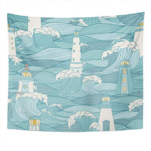 Xrknvf Tapestry Lighthouse Storm Waves Graphic Ing Book Adults Kids Marin Wave Light Not Easy to Deform Comfortable Environmentally Friendly Suitable for Bedroom Living Room Decoration 60x80 Inches