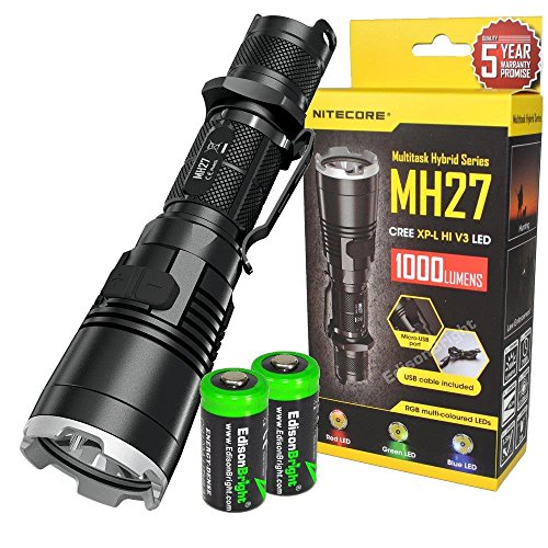 EdisonBright Nitecore MH27 1000 Lumens CREE LED Built in Red, Green, Blue Lights, Strobe, Police Warning Strobe, Rechargeable Flashlight/searchlight with 2 X CR123A Batteries