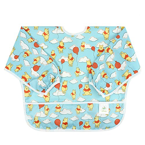 Bumkins Sleeved Bib Disney Baby Bib / Toddler Bib / Smock, Waterproof, Washable, Stain and Odor Resistant, 6-24 Months – Winnie The Pooh Balloon
