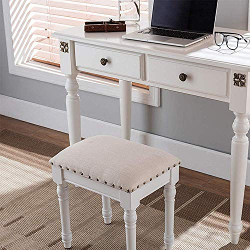 PIVFEDQX Piano Stool American Style Wooden Piano Bench Breathable Dressing Table Guzheng Drum Manicure Chair Bench Comfortable Seating Experience (Color : White, Size : 38x31.8x42cm)