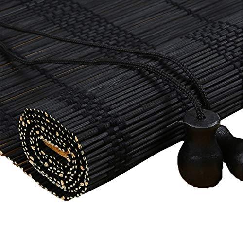XZPENG Persianas enrollables de bambú negro, 70% opacas para exteriores y patio – 70/80/90/100/110/120/130/140 cm de ancho (tamaño: 90 x 170 cm)