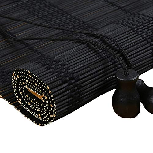 XZPENG - Estor Enrollable de bambú Negro, 70% Opaco para Exteriores – 70/80 / 90/100 / 110/120 / 130/140 cm de Ancho, Madera, 90x170cm