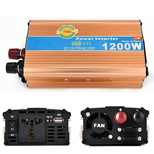 Convertisseur BQ Onduleur 1200W avec inverseur de voiture USB 12V à 220V à double transformateur à cigarette Adaptateur allumeur, 12v to 220v/1200w